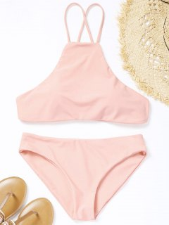 Conjunto De Bikini De Cuello Alto Cruzado - Rosado S