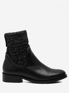 Stacked Heel Round Toe Sock Boots - Black 36