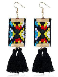 Ethnic Embroidery Tassel Geometric Earrings - Black