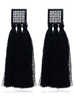 Rhinestoned Tassel Geometric Earrings - Black