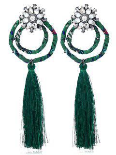 Pendientes De Borla Florales De Círculo De Diamantes De Imitación Vintage - Verde