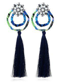 Vintage Rhinestone Circle Floral Tassel Earrings - Deep Blue