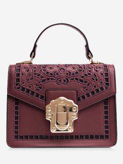 Embroidered Faux Leather Handbag - Purplish Red