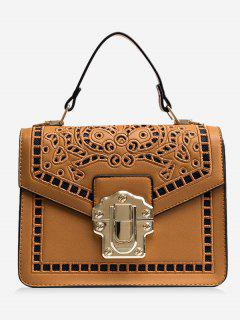 Embroidered Faux Leather Handbag - Brown