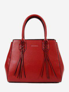 PU Leather Braid Tassel Handbag - Red