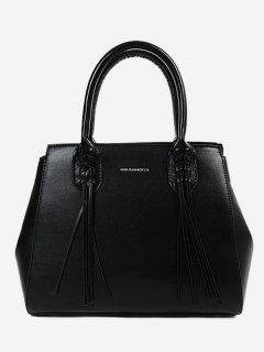 PU Leather Braid Tassel Handbag - Black