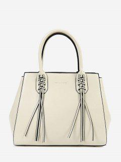 PU Leather Braid Tassel Handbag - White