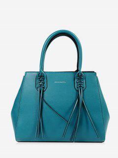 PU Leather Braid Tassel Handbag - Blue