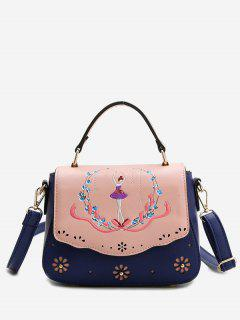 Embroidery Laser Cut Out Print Handbag - Blue