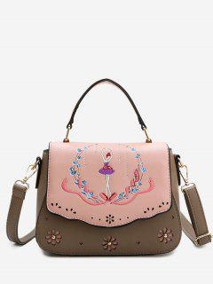 Embroidery Laser Cut Out Print Handbag - Coffee