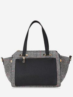 Contrasting Color Plaid Handbag - Black
