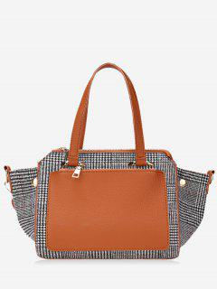 Contrasting Color Plaid Handbag - Brown