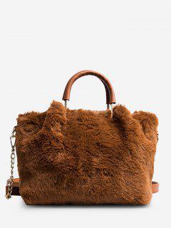 Faux Fur Chain Handbag - Brown