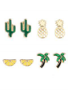 Coconut Tree Cactus Lemon Pineapple Earring Set - Golden