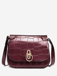 Embossing Faux Leather Metal Crossbody Bag - Red