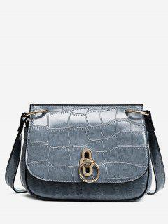 Embossing Faux Leather Metal Crossbody Bag - Blue Gray