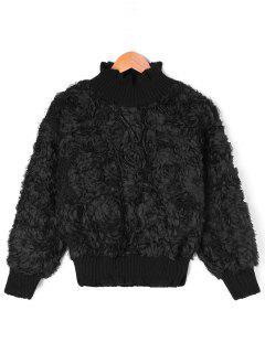 High Neck Rose Ribbed Knit Top - Black