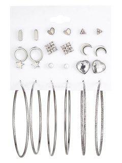 Rhinestone Moon Star Heart Hoop Earring Set - Silver