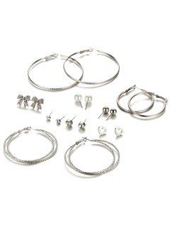 Rhinestone Faux Pearl Heart Hoop Earring Set - Silver