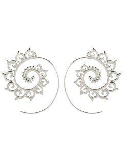 Unique Metal Hoop Earrings - Silver