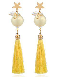 Faux Pearl Star Tassel Leaf Earrings - Yellow