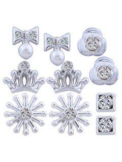 Rhinestone Crown Flower Geometric Bows Earring Set - Silver