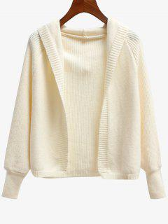 Dolman Sleeve Hooded Cardigan - Beige