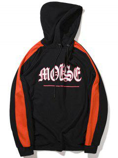 Zipper Embellished Graphic Hoodie - Black M