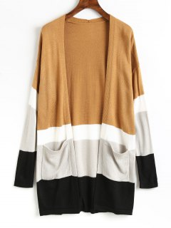 Color Block Knit Open Front Cardigan - Khaki S