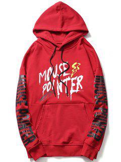 Streetwear Kangaroo Pocket Graphic Hoodie - Red L