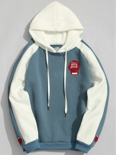 Two Tone Fleece Hoodie - Blue 3xl