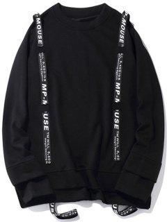 Slit Streetwear Letter Ribbon Sweatshirt - Black S