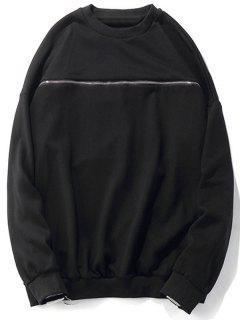 Crew Neck Two Way Zipper Sweatshirt - Black M