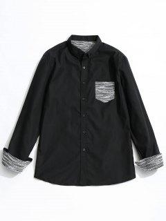 Front Pocket Button Down Shirt - Black L