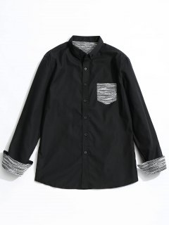 Front Pocket Button Down Shirt - Black S