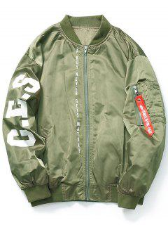 Zip Graphic Bomber Jacket - Green L