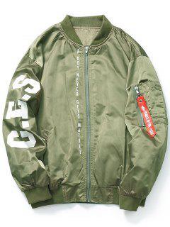 Zip Graphic Bomber Jacket - Green M