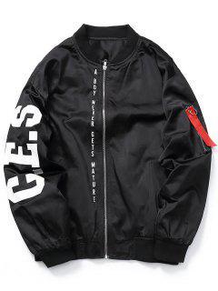 Zip Graphic Bomber Jacket - Black L