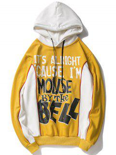 Fleeced Graphic Hoodie - Yellow M