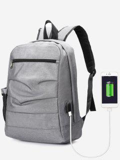 USB Charging Port Ruched Backpack - Gray