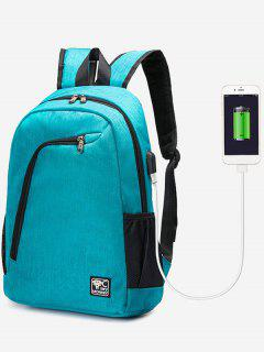 USB Charging Port Side Pockets Backpack - Blue