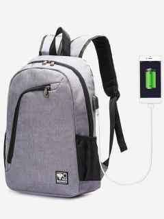 USB Charging Port Side Pockets Backpack - Gray