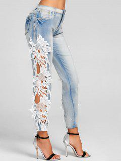 Lace Insert Hollow Out Skinny Jeans - Denim Blue Xl