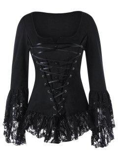 Square Neck Lace Up Gothic Top - Black 2xl