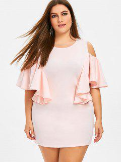 Ruffles Cold Shoulder Plus Taille Robe Moulante - Rose Clair Xl