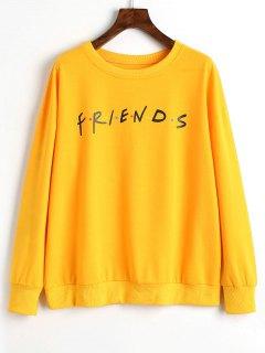 Sweat-shirt à Lettres à Pois Colorés - Jaune Xl
