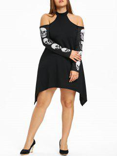 Plus Size Cold Shoulder Skulls Dress - Black 5xl