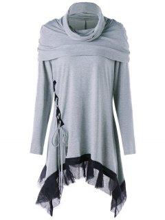 Robe Tunique Asymétrique à Col Bénitier Et Grande Taille - Gris 5xl