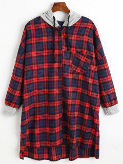 Button Up Plus Size Long Tartan Hoodie - Red
