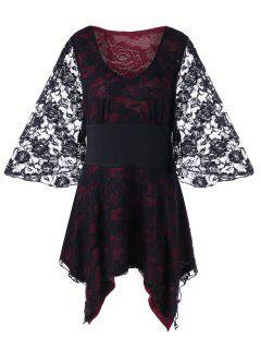 Plus Size Lace Up Lace Gothic Top - Black 5xl